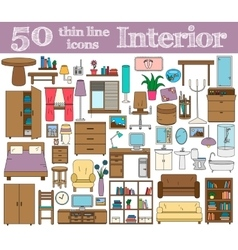 50 icons for interior thin line set in bright vector