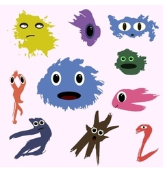set of funny cute monsters colored blotch children vector image