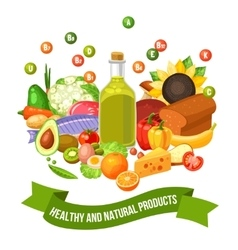 Poster of vitamin food products vector