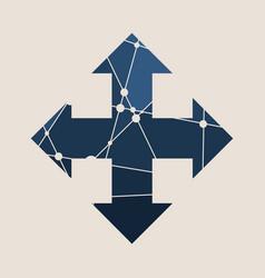 Arrow cross icon with long shadows vector