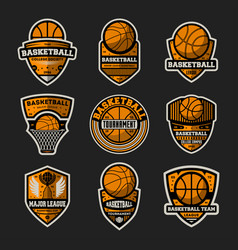 basketball tournament vintage isolated label set vector image vector image