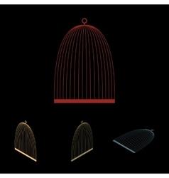 Bird cage icon set vector