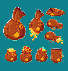 Collection of cartoon bags with gold coins vector