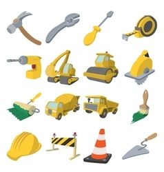 Construction cartoon icons vector