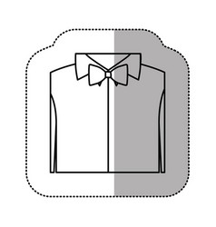 Contour sticker shirt with bow tie icon vector