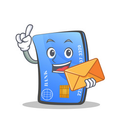 credit card character cartoon envelope vector image vector image