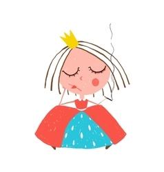 Depressed little princess smoking cigarette vector