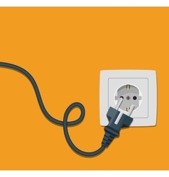 Electricity icon flat with plug and socket vector