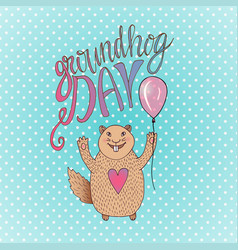 Groundhog day gift card handdrawn smiling hamster vector