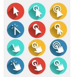 Hand cursor signs arrow pointer symbols and click vector image vector image