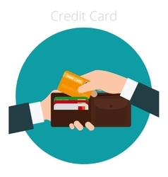 Hand with credit card vector image vector image