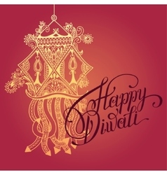 Happy Diwali greeting card with paisley ornamental vector image
