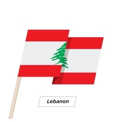 Lebanon ribbon waving flag isolated on white vector
