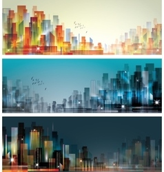 Modern night city skyline with reflection on vector image