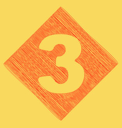 Number 3 sign design template element red vector