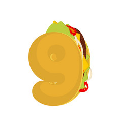 Number9 tacos mexican fast food font nine taco vector