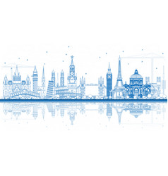 outline famous landmarks in europe with vector image vector image