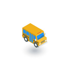 School bus isometric flat icon 3d vector