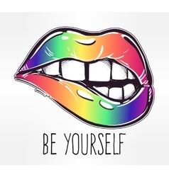 Sexy fatal biting lips in gay pride colors vector image