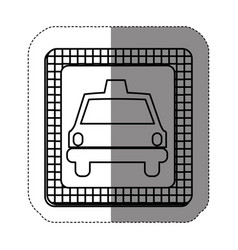 silhouette border taxi front car icon vector image vector image