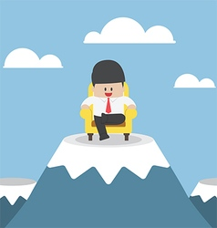 Successful businessman is sitting on sofa at mount vector