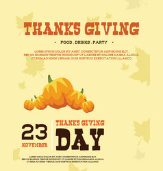 Thanksgiving poster style design art vector