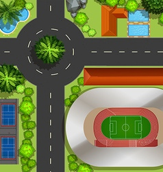 Top view of courts and street vector