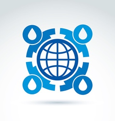 Water circulation around the globe icon conceptual vector image