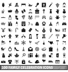 100 family celebration icons set simple style vector
