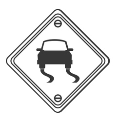 Slippery road traffic sign icon vector