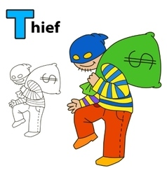 Thief Coloring book page vector image