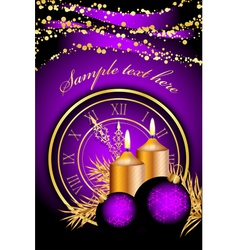 Merry christmas clock frame purple gold vector