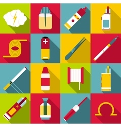 E-cigarettes tools icons set flat style vector