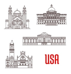 Usa architecture landmarks icons vector