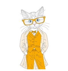Cute anthropomorphic cat boy in elegant suit with vector