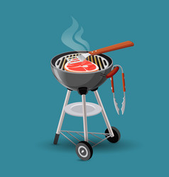 Meat fried on barbecue grill icon in cartoon style vector