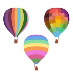 Colorful drawing hot air balloons set vector