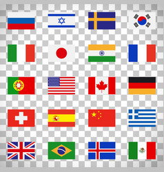 flags icons on transparent background vector image