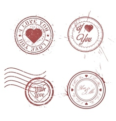 Romantic postage stamps vector
