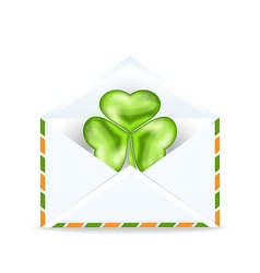 Envelope with clover isolated on white background vector