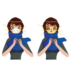 Sneezing woman vector