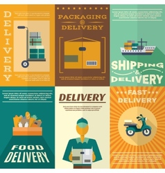 Delivery poster set vector