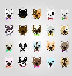 Set of the dog face vector