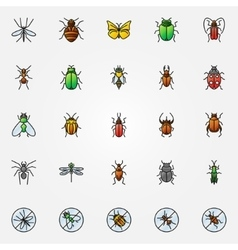 Colorful insects icons vector