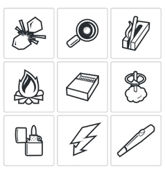Make a fire the fire source icons vector