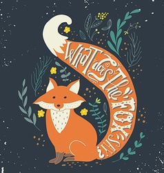 Hand drawn vintage label with a fox and hand vector image