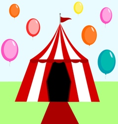 Circus tent with balloons vector