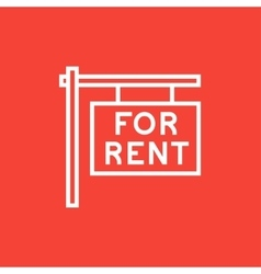 For rent placard line icon vector