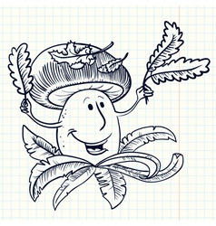 doodle smiling muchroom character vector image