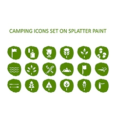 Camping icon set on green splatter paint flat icon vector